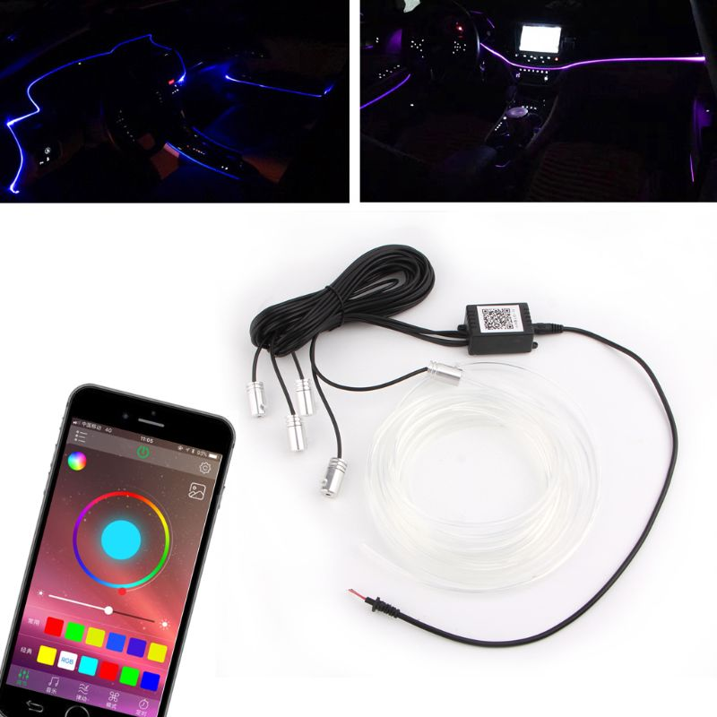 Free delivery 5 In 1 6m Car Interior RGB LED Light Multicolor Controllable Atmosphere Lamp