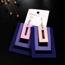 Natural Wood Circle Geometric Round Rectangle Multilayer Square  Hollow  Drop Earrings 1Pair Big Graceful Wooden Multicolor-in Drop Earrings from Jewelry & Accessories on AliExpress