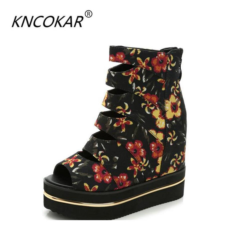 KNCOKAR2018 new spring muffin top of the new spring muffin top of the women's shoes, with the thick base of the fish mouth and