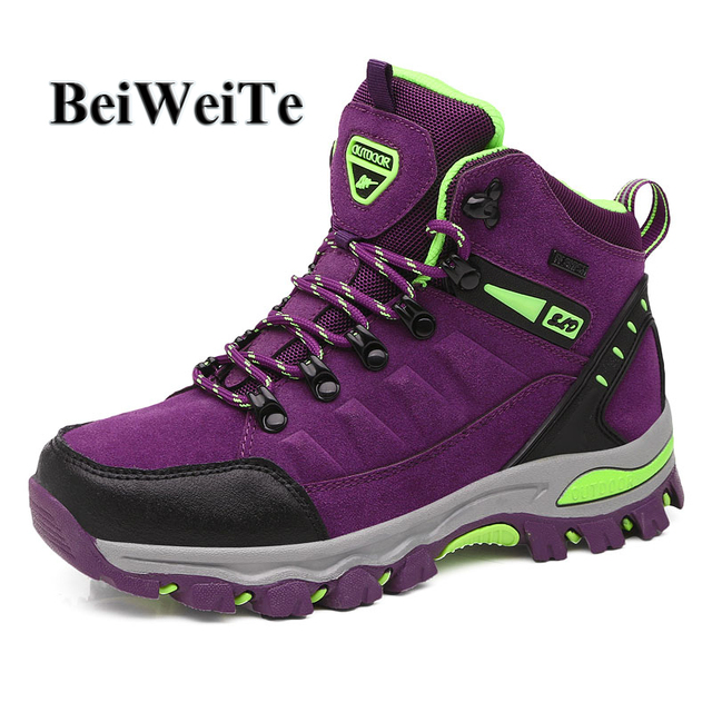 Autumn Women Hiking Shoes Sneakers For Traveling Climbing Mountain BeiWeiTe Female High Top Safety Outdoor Shoes Trekking Boots