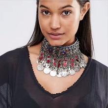 2016 Moneda Borla Colgante de Collar de Declaración de Lujo Gargantilla de Metal Collar de Las Mujeres de Moda Étnica Maxi de Boho Joyería Collier Femme