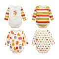 Y17 gêmeos do bebê Recém-nascido roupas, do bebê do algodão triângulo Ha roupas lindas roupas puro algodão roupa do bebê dos desenhos animados de longa-manga