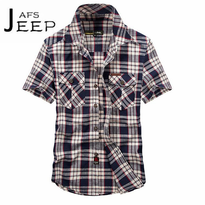 JI PU Fashion Design Mans Summer Cotton Breathe short sleeve shirt casual plaid manga corta motorcycle bolsillo de la camisa