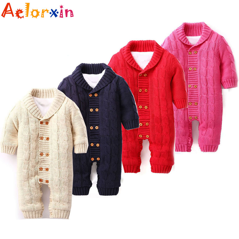 2016 Newborn Baby Rompers Warm Thick Winter Knitted Sweater Rompers Newborn Boys Girls Jumpsuit Climbing Clothes Hooded Outwear baby rompers winter newborn boys girls clothes toddler christmas warm thick costume roupa infant jumpsuits hooded outwear red