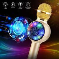 Drahtlose Bluetooth Karaoke Mikrofon, 3-in-1 tragbare handheld karaoke mic karaoke player multi-funktion LED licht