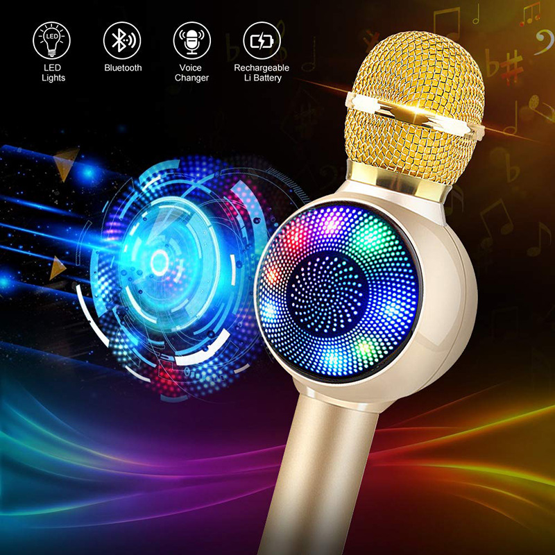 Wireless Bluetooth Karaoke Microphone, 3-in-1 Portable Handheld Karaoke Mic Karaoke Player Multi-function LED Light
