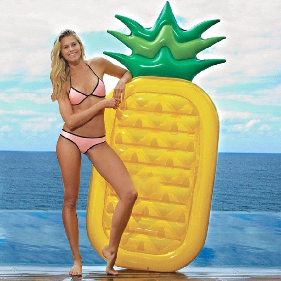 180 CM ananas piscine nager flotte radeaux lit Air matelas gonflable piscine bouée été natation eau bateau Kickboard tapis de plage