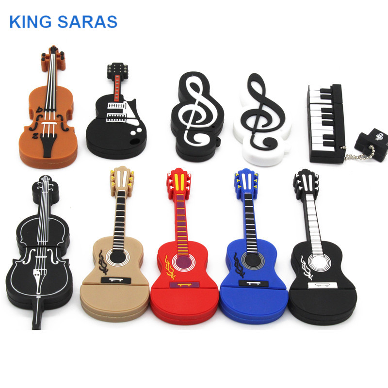 KING SARAS Cartoon  Usb 2.0 Musical Instrument Piano Guitar Note Violin 64GB USB Flash Drive Pen Drive 4GB 8GB 16GB 32GB U Disk