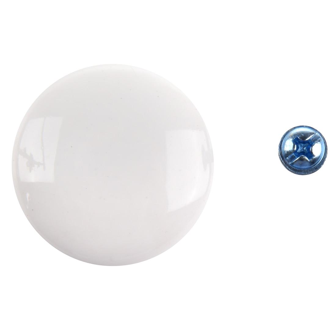 2pcs White Round Ceramic Cupboard Knob Drawer Cabinet Pull Handle S