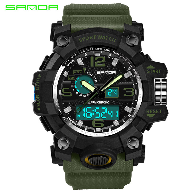 Men Sports Watches Dual Display Analog Digital LED Electronic Quartz Wristwatches Waterproof Swimming Military Watch #4M18#F men sports watches dual display analog digital led electronic quartz wristwatches waterproof military watch reloj hombre skmei