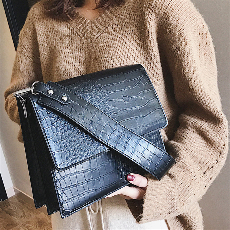 Small Vintage Bags Retro Female Pu Leather Hasp Messenger Bags For Girls/ladies Alligator Crossbody Bags For Women 2019