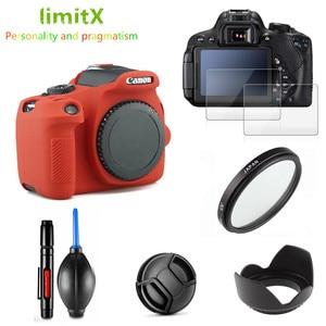 Image 1 - Full Protect Kit Screen Protector Camera case bag UV Filter Lens hood Cap pen Blower for Canon EOS 2000D Redel T7 18 55mm lens