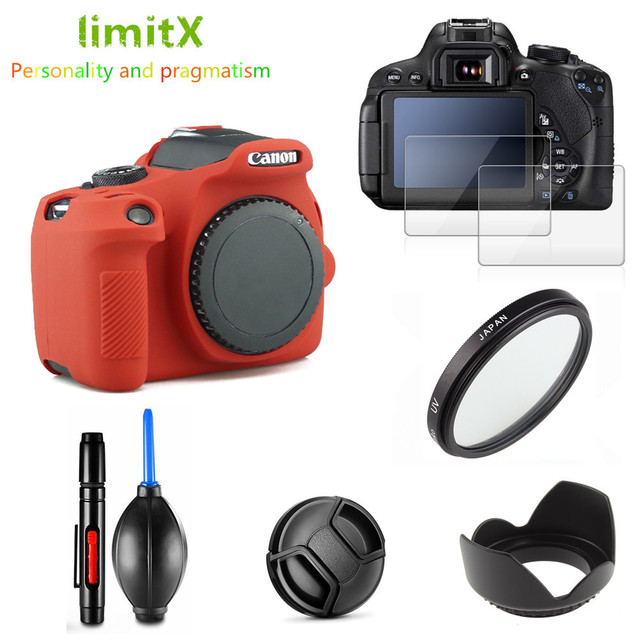 Kit de proteção completa para câmera, kit de proteção com proteção uv e caneta contra filtro uv para canon eos 2000d redel lente 18 55mm t7