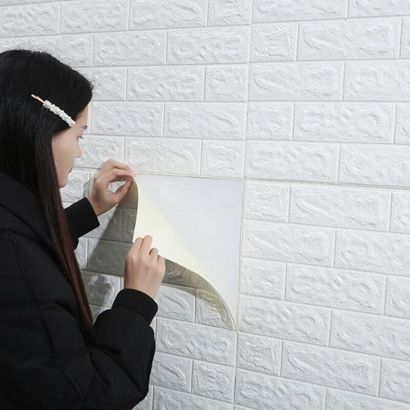 Hot Sale 3D Wallpaper PE Foam DIY Wall Stickers Wall Decor Embossed Brick Stone Wallpaper Room House 70X38cm Poster