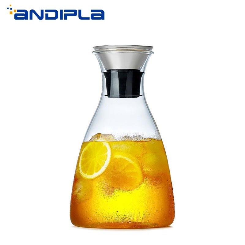1800 ml bref haute capacité résistant à la chaleur cruche en verre Transparent théière citron fleur théière maison bouteille d'eau jus de fruits bouilloire