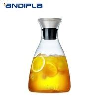 1800ml Brief High Capacity Heat Resistant Glass Jug Transparent Teapot Lemon Flower Tea Pot Home Water Bottle Fruit Juice Kettle
