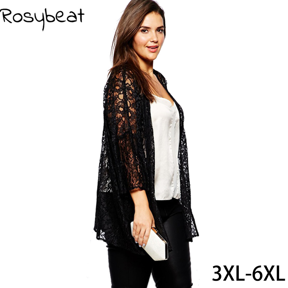 Plus Size Women Lace Cardigan 4xl 5xl 6xl Women Large Sizes Black Coat Lace Long Shrug Lady Clothing XXXL Lady Big Clothes Lace