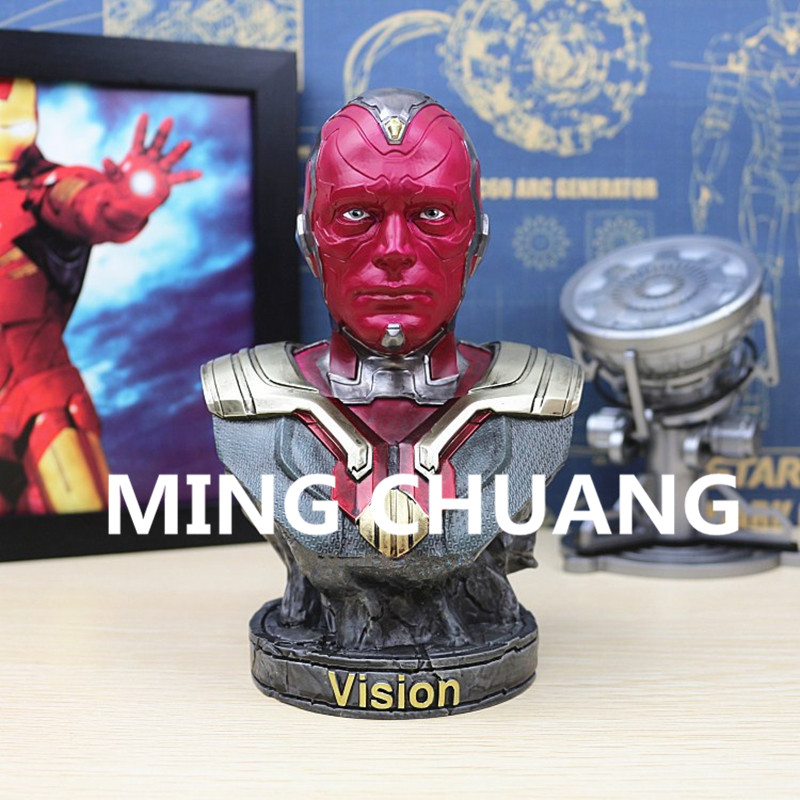 Avengers: Age of Ultron Statue Superhero Vision 1:4 Bust Cyborg Edwin Jarvis Resin Action Figure Collectible Model Toy W36 hot 502b 900lm q5 cree red light led tactical flashlight torch 18650 remote switch rifle mount gun