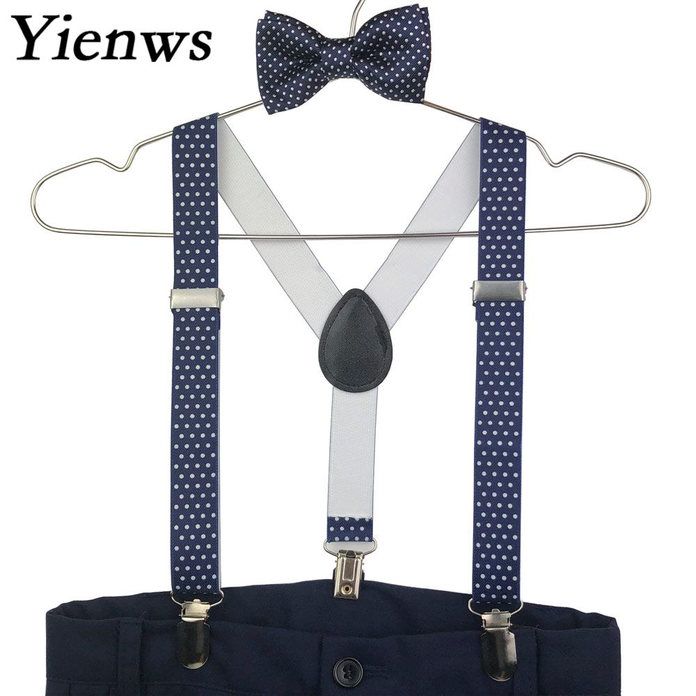 Yienws Kids Bow Tie And Suspenders Baby Navy Polka Dot Girls Boys Suspenders Bowtie Tirantes Bebe Bretels Kinderen YiA147