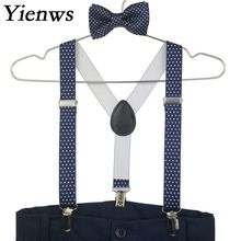 Yienws Kids Bow Tie and Suspenders Baby Navy Polka Dot Girls Boys Bowtie Tirantes Bebe Bretels Kinderen YiA147