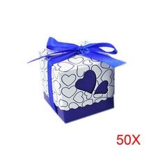 50 unids Amor Pequeño Corazón Cajas Del Caramelo Del Favor Del Banquete de Boda de Corte Láser de Regalo Bolsas de Dulces Con La Cinta Decoración