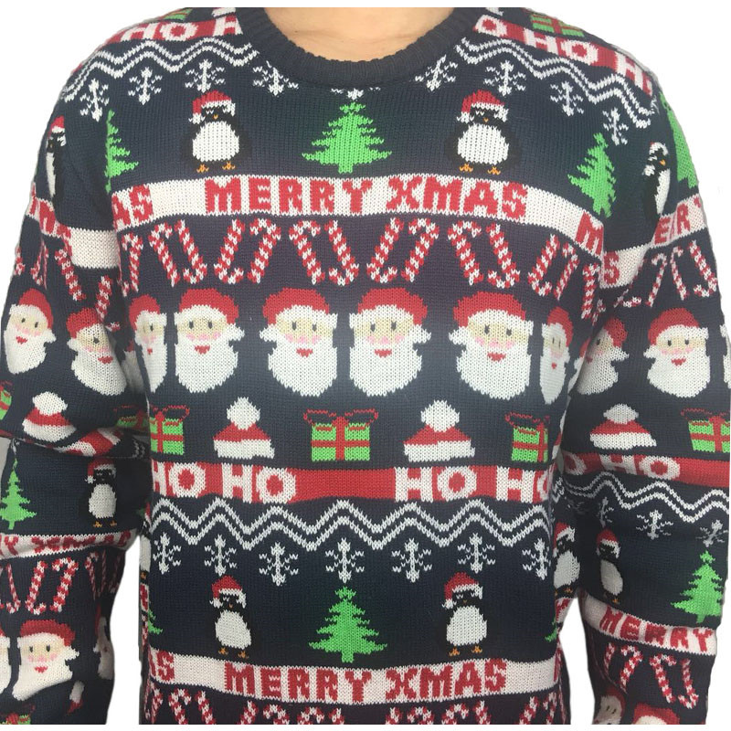 Funny Knitted Ugly Christmas Sweaters for Men and Women Cute Santa Claus Penguin Pattern Ugly Xmas Pullover Jumper Oversized 7