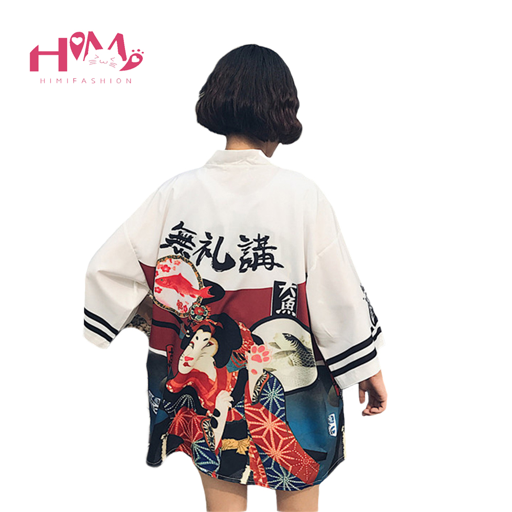 2017 Harajuku Moda Mujeres Blusas Verano Kimono Kawaii Cardigan Delgado Camisas de Protección Solar Cubrir Blusa de Protección Solar