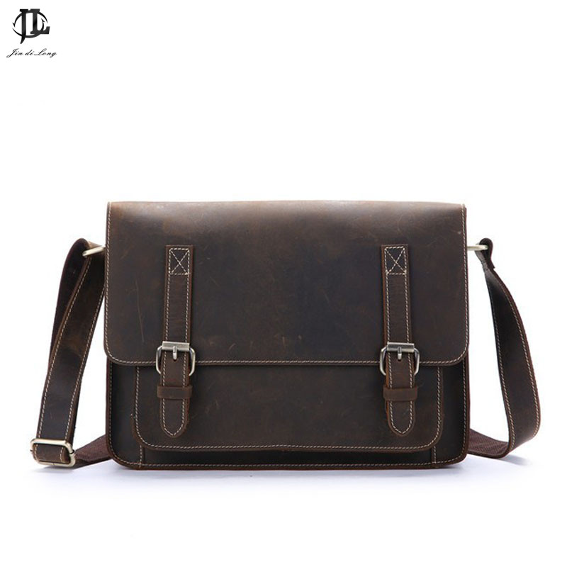 Crazy horse leather men bag genuine leather handbag laptop men's briefcase tote men messenger bags shoulder vintage mens bag