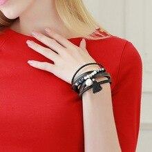 MJartoria винтажные, в виде листика перьев Многослойный кожаный браслет для женщин Плетеный ручной работы звезда веревка обертывание браслеты и браслеты ювелирные изделия