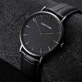 GEEKTHINK 2017 Novo ultra fino marca Top tendência Minimalista Pulseira de couro relógio de Pulso de Quartzo-Relógio Gentalman Clássico Simples projeto
