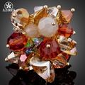 AZORA Amazing Gold Plated Multicolor Stellux Austrian Crystal Water Drop Adjustable Size Ring TR0071