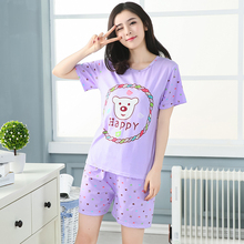Discount 2017 Women Pajama Set Thin Cartoon Summer Girlfriend Gift Indoor Cloth Home Suit Sleepwear Short Sleeve female Pyjamas