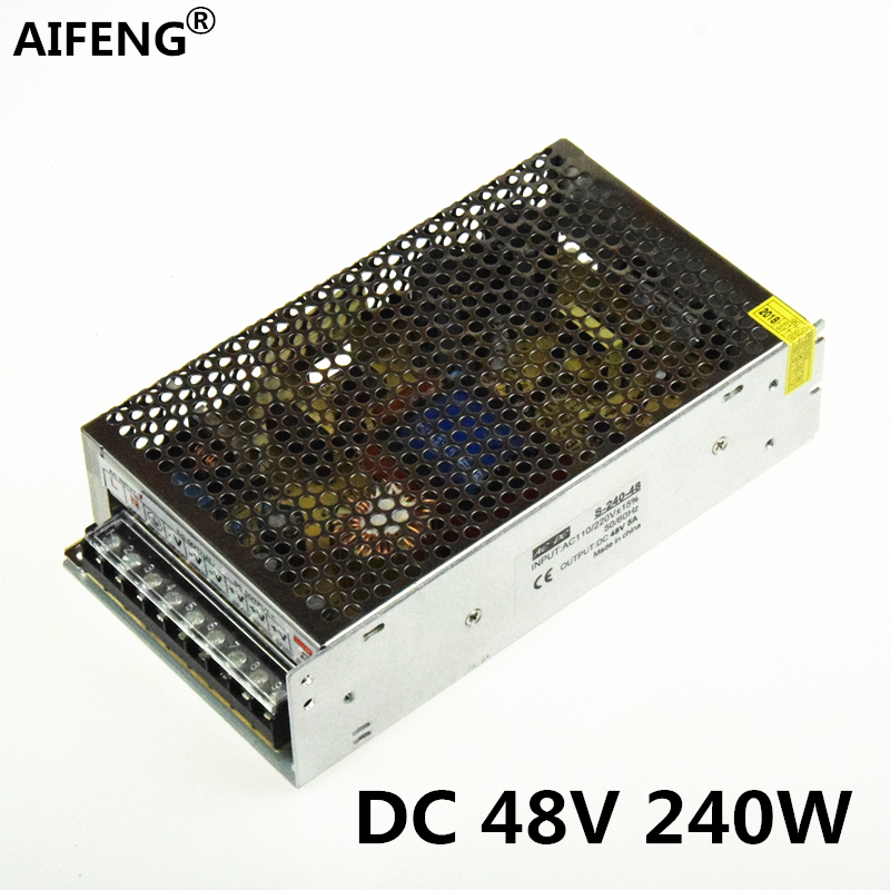 AIFENG 48V power supply 5a 240w AC 110V/220V to dc 48v 5a 240w Switching Power Supply for led light Motor monitor Transformer ac 220 v to dc24 v switching power supply transformer 2a 120 w led monitor equipment power supply