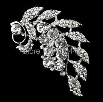 3 Leaf Flower Damante Brooch Rhodium Silver Plated Vintage Style Rhinestone Broach