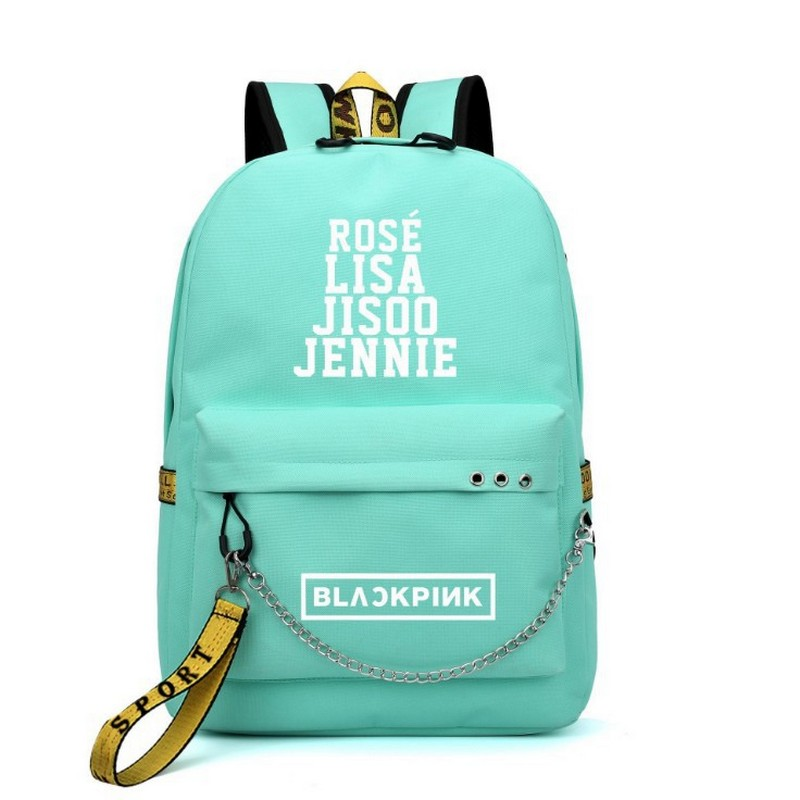 Kpop BLACKPINK LISA Backpack Women Korea Student School Bags for Teenage Girls Boys Large Nylon Chain Back Pack USB Bagpack 2019