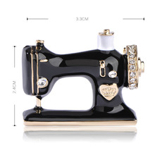 Women Sewing Machine Brooch Black Hijab Pin