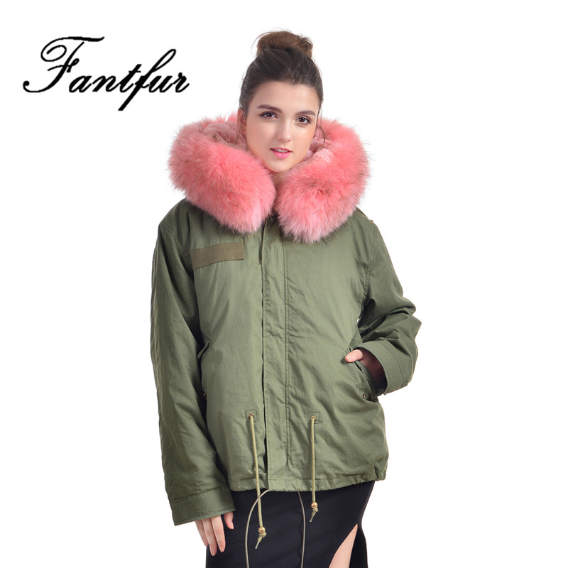 Fashion Women Winter Fur Coats Army Green Jacket Real Raccoon Fur Collar Hooded Outwear 2017 New Thick Warm Parkas Plus Size