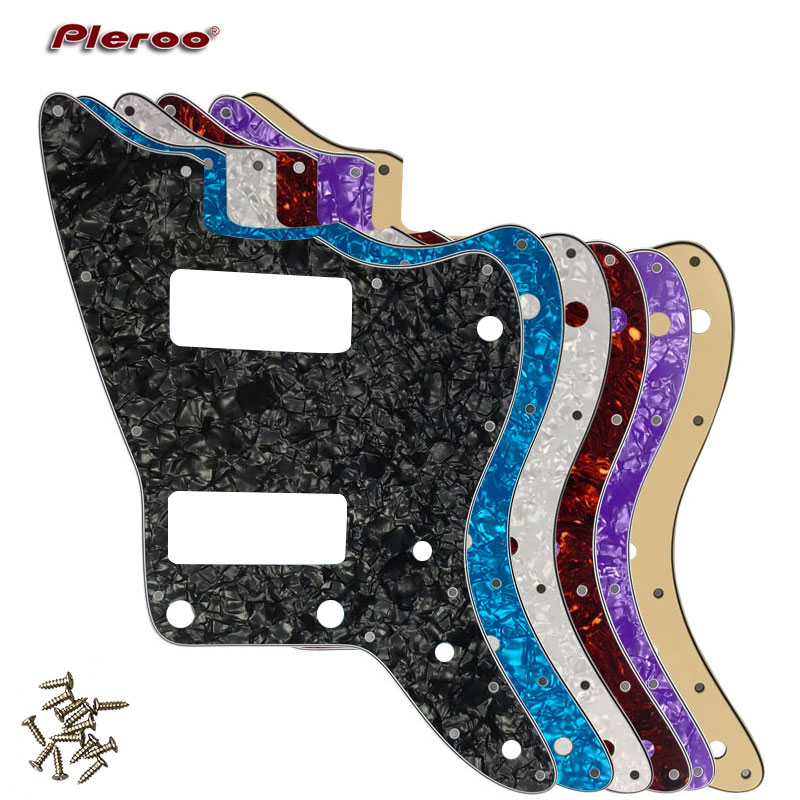 Pleroo Guitar Parts - For US No Upper Controls Jazzmaster Style Guitar Pickguard With P90 Pickups Scratch Plate Replacement