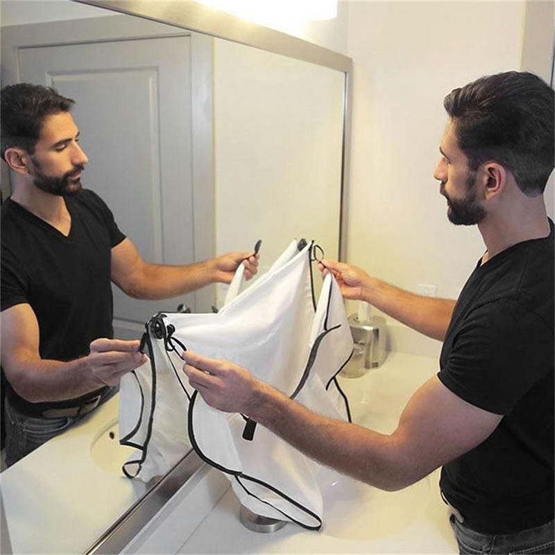 Image 3 - 120x77cm Man Bathroom Apron Beard Apron Hair Shave Apron for Man Men's Facial Bear Barbe Waterproof Polyester Household Cleaning-in Hair Trimmers from Home Appliances