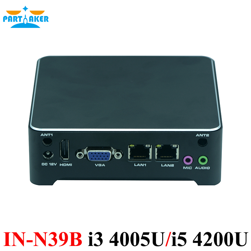 Partaker Mini PC 2 Lan Barebone Mini PC Nuc Nettop Desktop Computer With OEM I3 4005u I5 4200u Core Processor