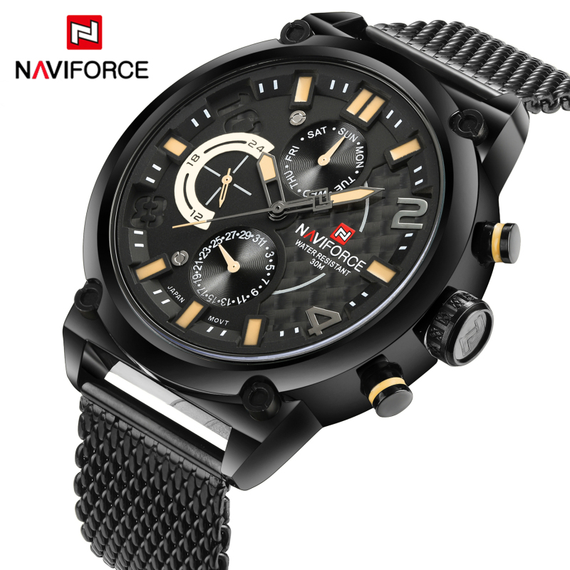 Luxury Brand NAVIFORCE Full Steel Men Watches Men's Quartz 24 Hour Date Clock Male Sport Military WristWatches Relogio Masculino luxury brand burei men multifunctional business watches stainless steel date clock hour male quartz wristwatch relogio masculino