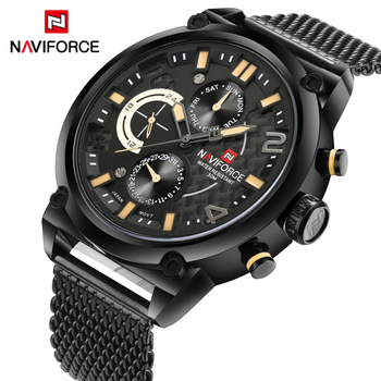 NAVIFORCE 9068 Full Steel Men Watches waterproof with box