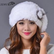 2016 invierno de piel de conejo Rex boinas sombrero gorro de piel de las  mujeres de sombrero de piel con piel de zorro 8 colores 93bab9dbc51
