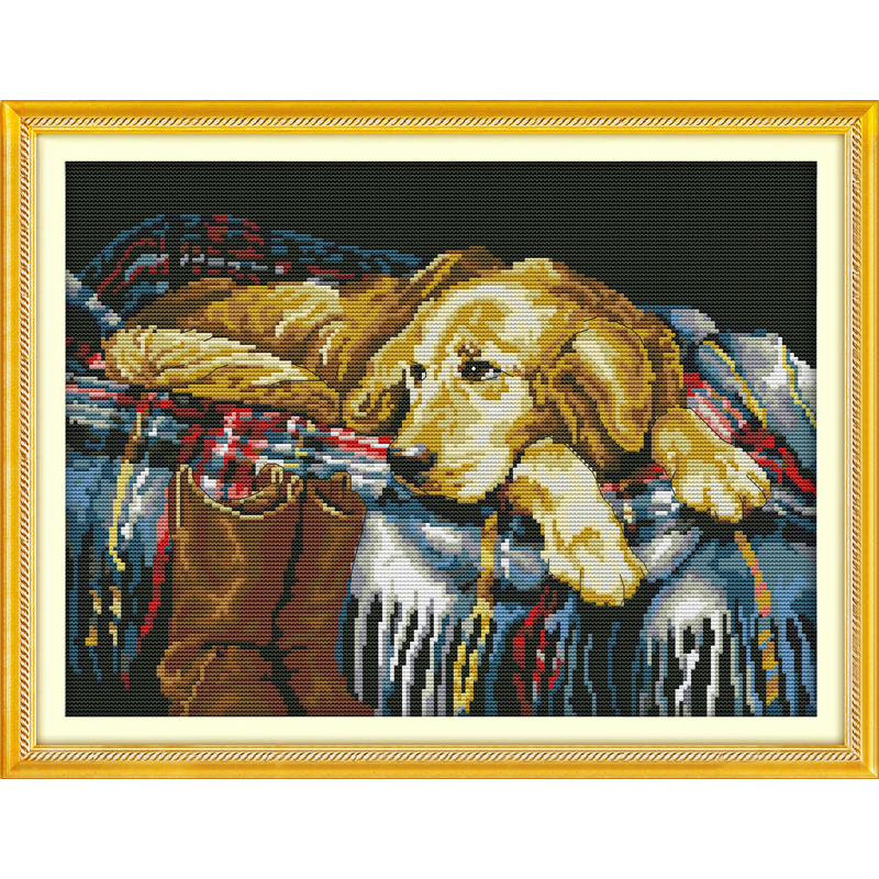 Everlasting love A faithful friend Chinese cross stitch kits Ecological cotton stamped printed DIY new year decorations for home