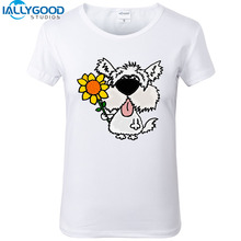 New Summer Fashion Cute Funny West Highland Terrier with Sunflower T-Shirts Women Soft Cotton Printed White T Shirts Tops S1175
