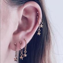 Fashion Stars Chain Tassels Dangle Earrings Women Simple Silvery  Golden Girls Graceful drop party Jewelry