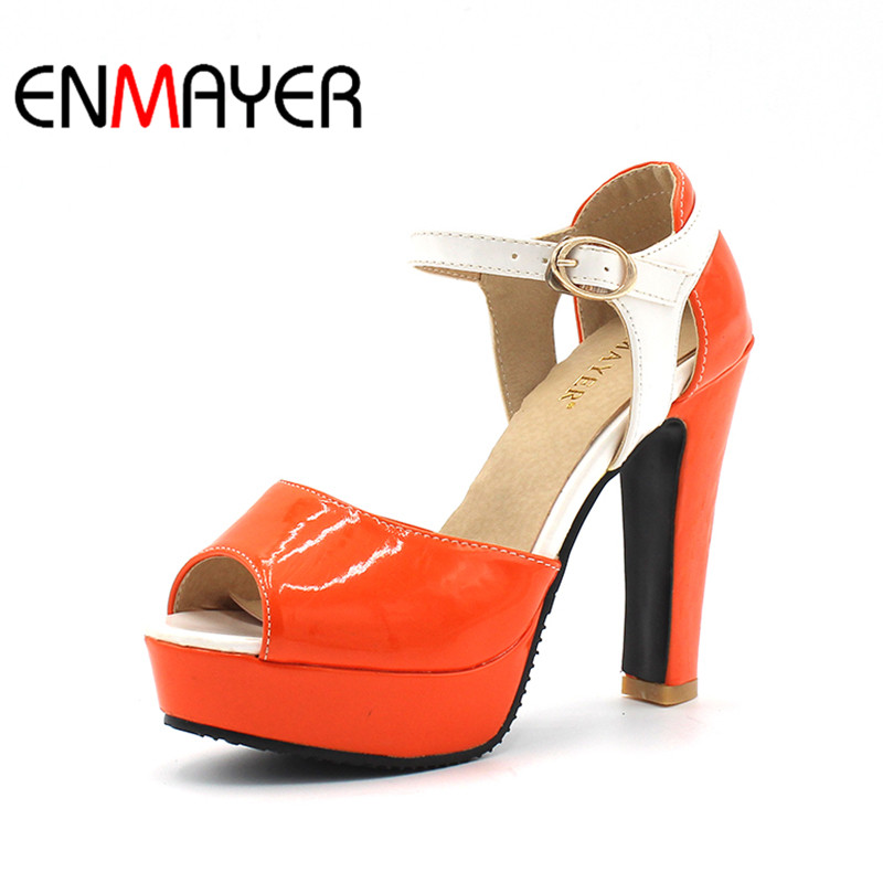 ENMAYER New High Heels Fashion Peep Toe Buckle Strap Shoes Woman Size 34-43 Orange Summer Sandals Shoes Platform Pumps Shoes enmayer new women high heels summer buckle strap sandals shoes woman 4 colors white shoes platform peep toe sandals pumps shoes