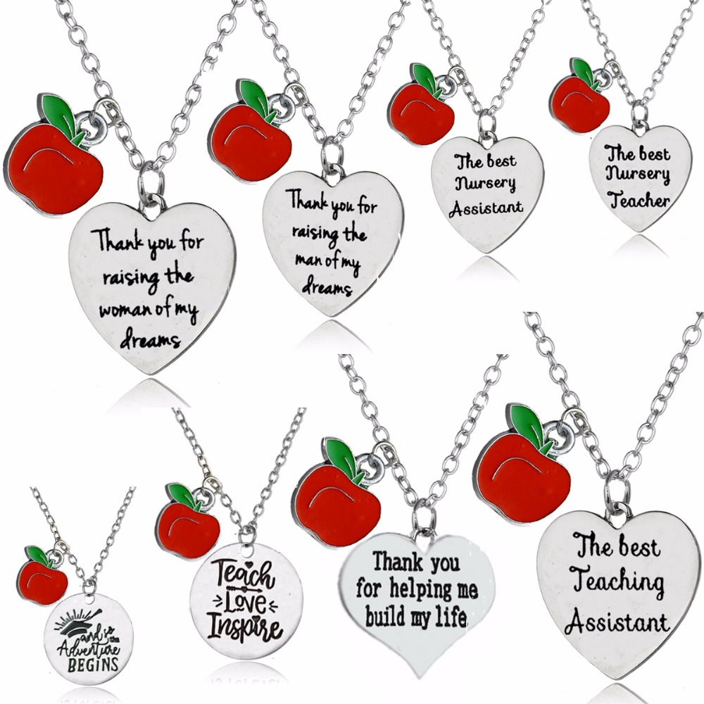 Charm Thank You Teachers Teaching Assistant Nursery Teacher Necklaces Jewelry Gift Apple Love Heart Pedant Chain Necklace Collar