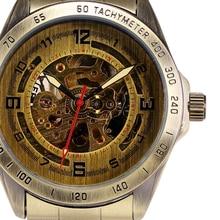 Retro Bronze Style Male Clock Auto Mechanical Relogio Masculino Mens Skeleton Steampunk Wrist Watch Automatic Wristwatch