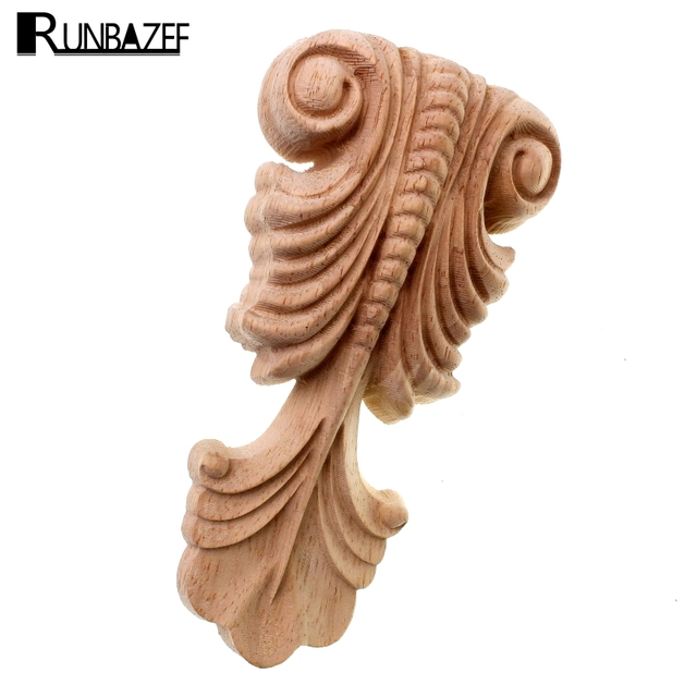 Runbazef Decorative Wood Liques Unpainted Oak Carved Wave Flower